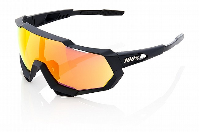 100% Speedtrap Sunglasses Soft Tact Black/HiPER Red Mirror Lens