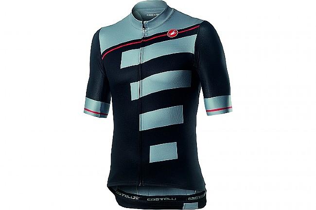 Castelli Mens Trofeo Jersey Light Black/ Vortex Gray