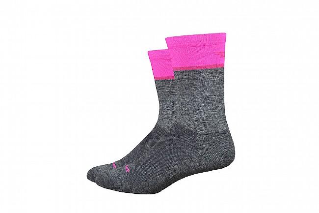 DeFeet Wooleater Comp 6 Inch Sock Gravel Grey/ Hi-Vis Pink - Medium