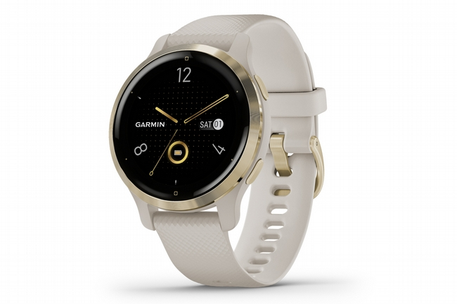 Garmin Venu 2S GPS Smartwatch Light Gold Bezel w/Light Sand/Silicone Band