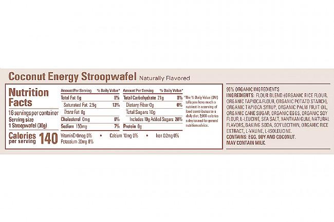 GU Energy Stroopwafel (Box of 16) Coconut (GF) Nutrition Facts