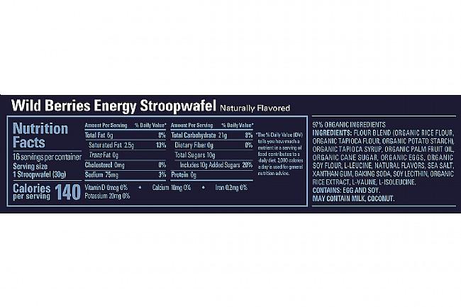 GU Energy Stroopwafel (Box of 16) Wild Berries (GF) Nutrition Facts