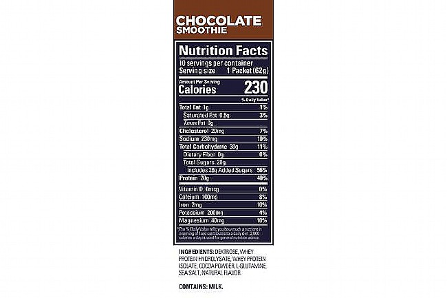 GU Roctane Protein Recovery (15 Servings) Chocolate Smoothie Nutrition Facts