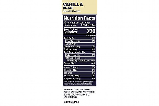 GU Roctane Protein Recovery (15 Servings) Vanilla Bean Nutrition Facts