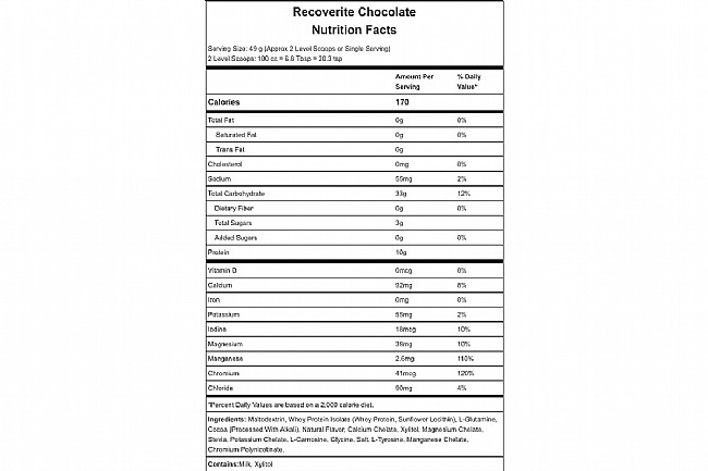 Hammer Nutrition Recoverite (32 Servings) Chocolate Nutrition Facts