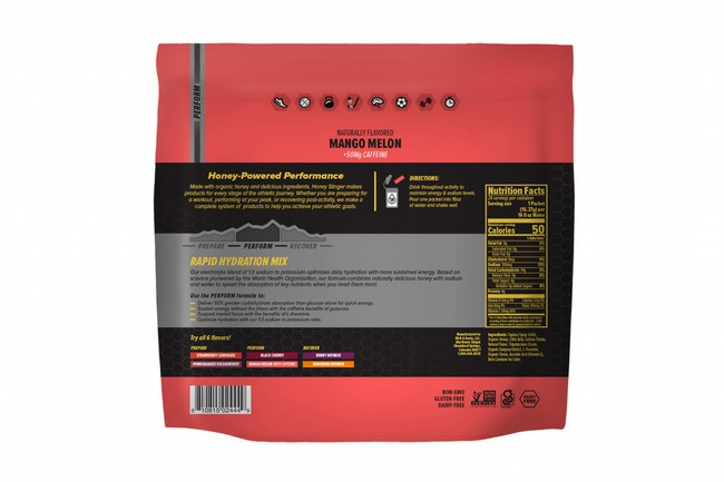 Honey Stinger Rapid Hydration (24 Servings)  Perform - Mango Melon w/ Caffeine