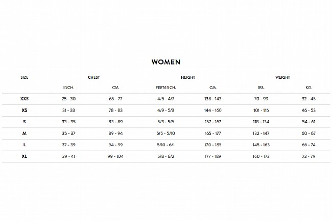 Orca Womens RS1 One-Piece SwimRun Suit Size Chart