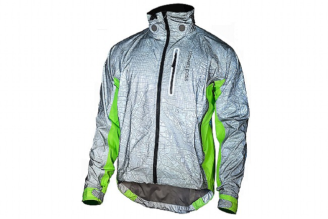Showers Pass Mens Hi-Vis Torch Jacket Map Relflect Silver/Neon Green