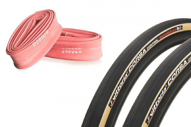 Vittoria Corsa Control G2.0 Limited Twin Pack Road Tire Pack comes with two tires and two tubes.
