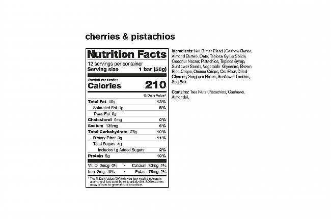 Skratch Labs Anytime Energy Bar Variety Pack (Box of 12) Cherries & Pistachios Nutrition Facts