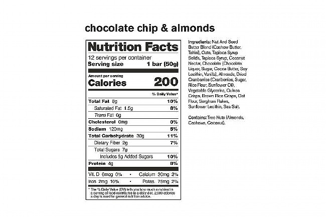 Skratch Labs Anytime Energy Bar Variety Pack (Box of 12) Chocolate Chip & Almond Nutrition Facts