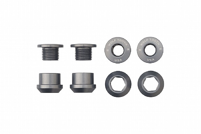 Wolf Tooth Components Set of 4 Alloy Chainring Bolts for 1x Drivetrains Gunmetal Grey