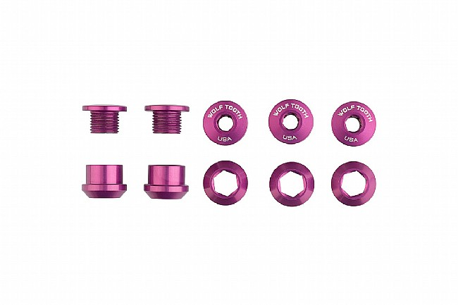 Wolf Tooth Components Set of 5 Alloy Chainring Bolts for 1x Drivetrains Purple
