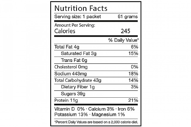 Tailwind Nutrition Rebuild Recovery (12 Single Servings) Chocolate Nutrition Facts